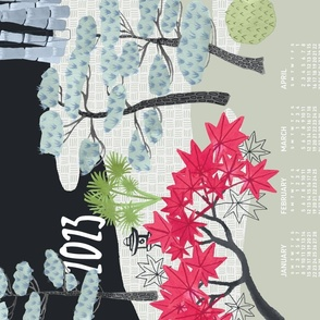 2022 Calendar, Sunday / Japanese Garden