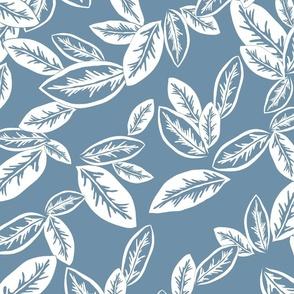 Leaf Garlands White on Washed Denim 300