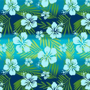 Hawaiian Tie Dye Blend Tropical Hibiscus - Teal