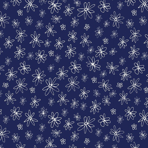 Loopy Flowers - white on navy - small