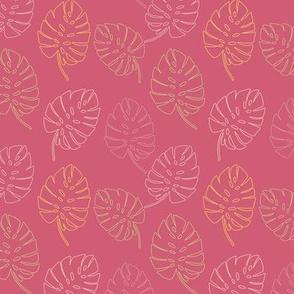 Palm Leaves on Dark Pink Background