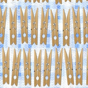Clothespins - Wooden on Blue Squares