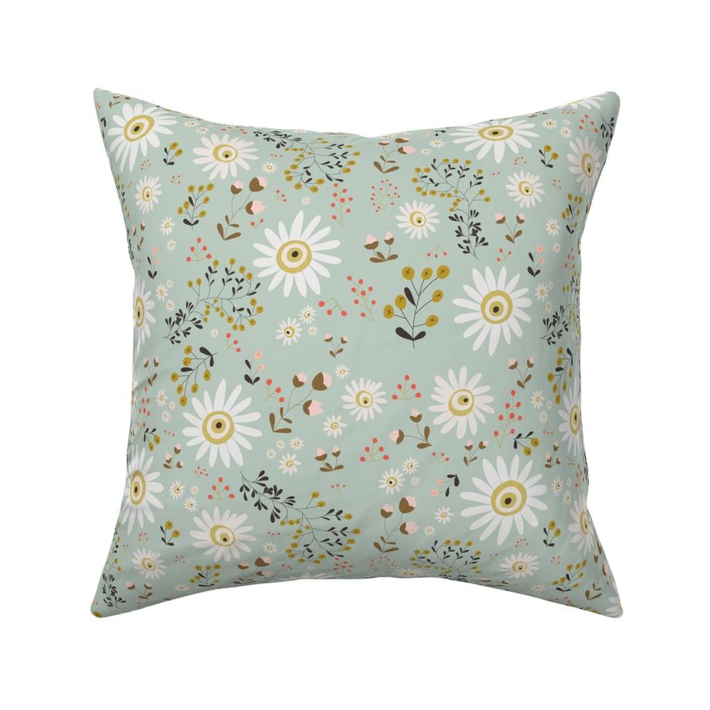 Catalan Throw Pillow featuring 01-gold-daisy by manuela_langella