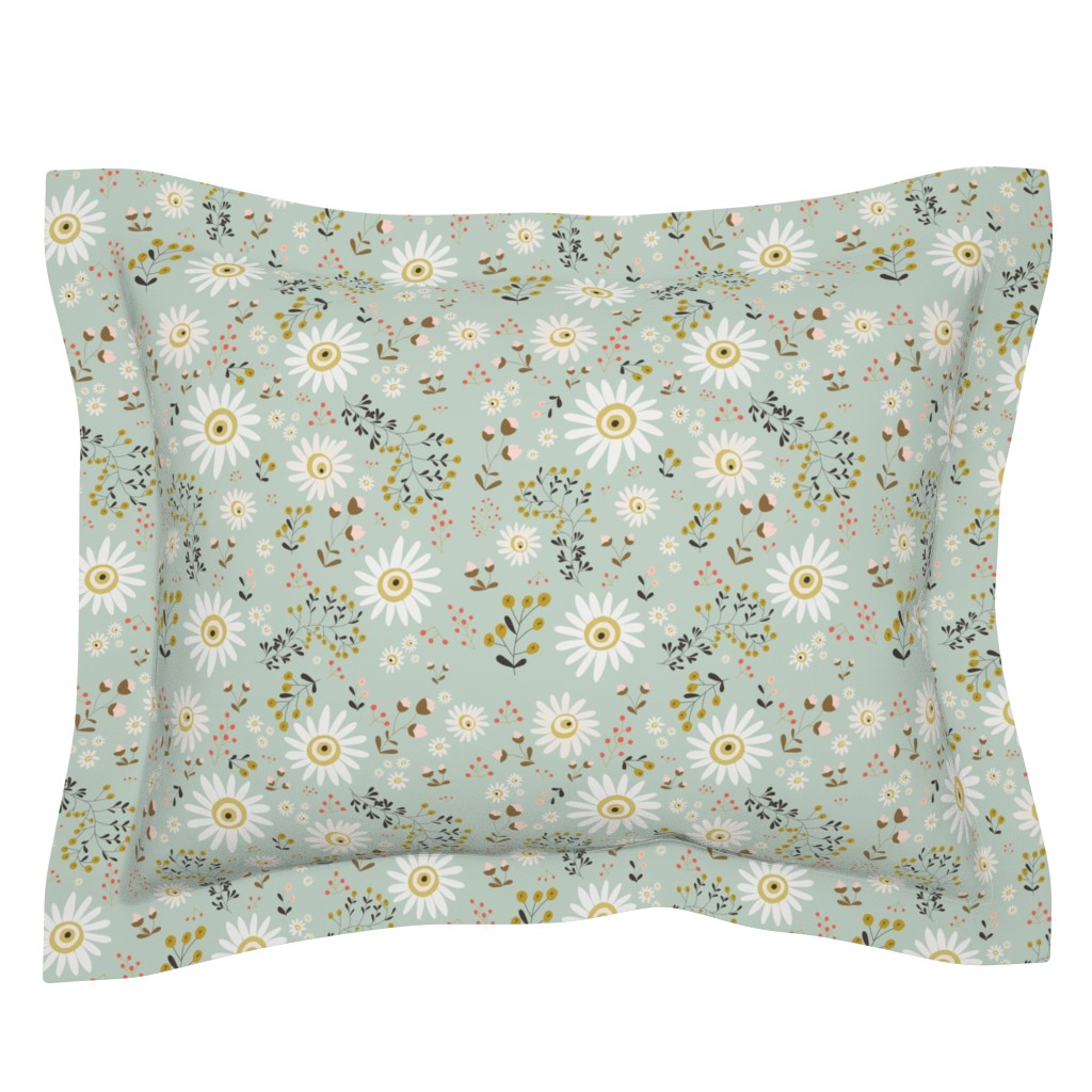 Sebright Pillow Sham featuring 01-gold-daisy by manuela_langella