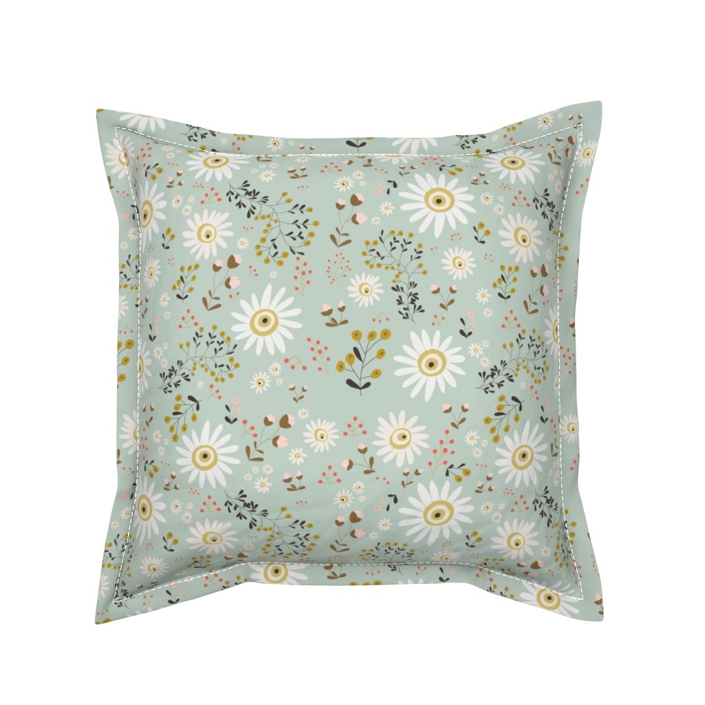 Serama Throw Pillow featuring 01-gold-daisy by manuela_langella