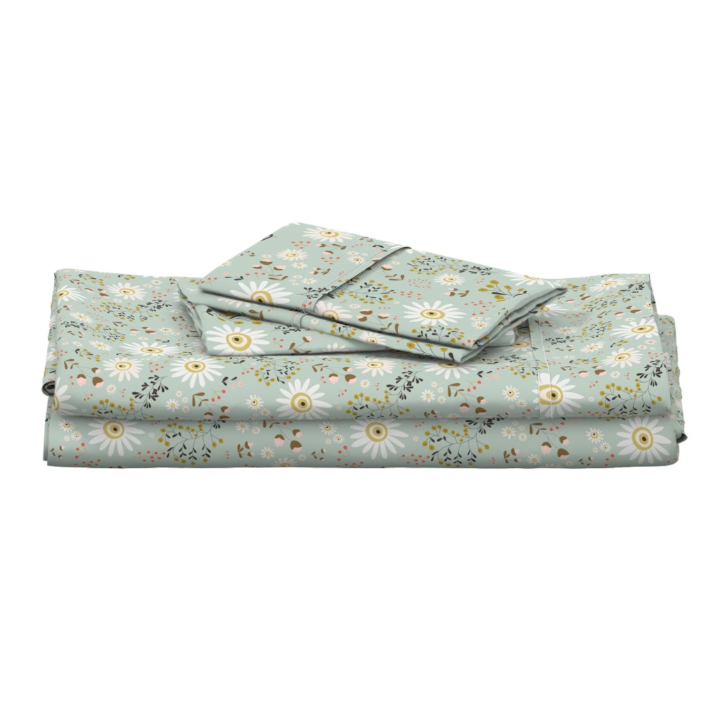 Langshan Full Bed Set featuring 01-gold-daisy by manuela_langella