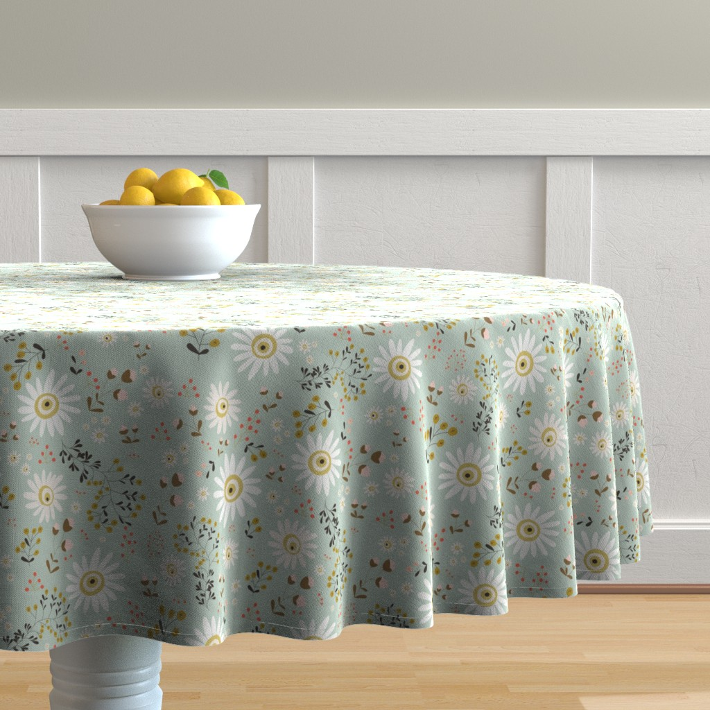 Malay Round Tablecloth featuring 01-gold-daisy by manuela_langella
