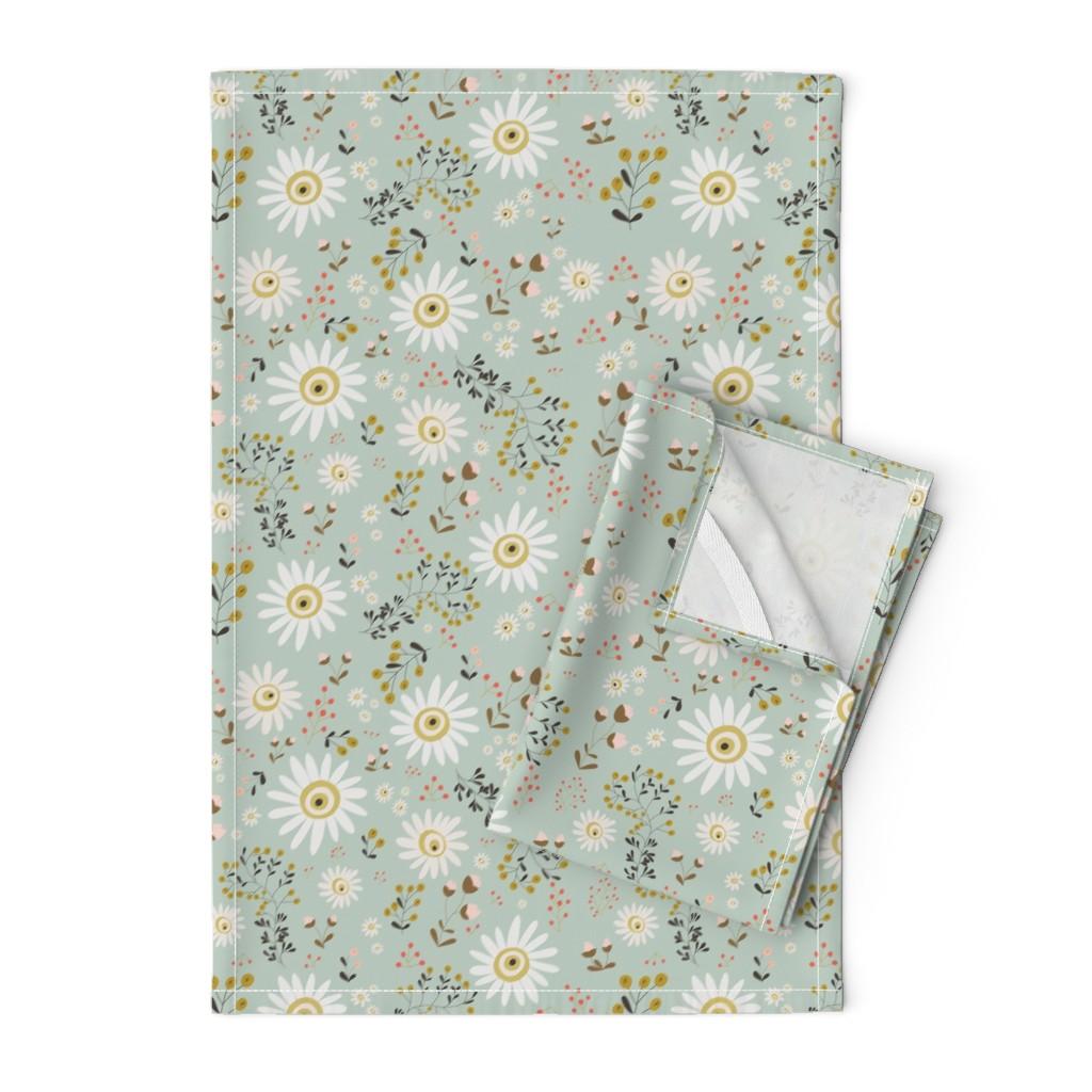 Orpington Tea Towels featuring 01-gold-daisy by manuela_langella