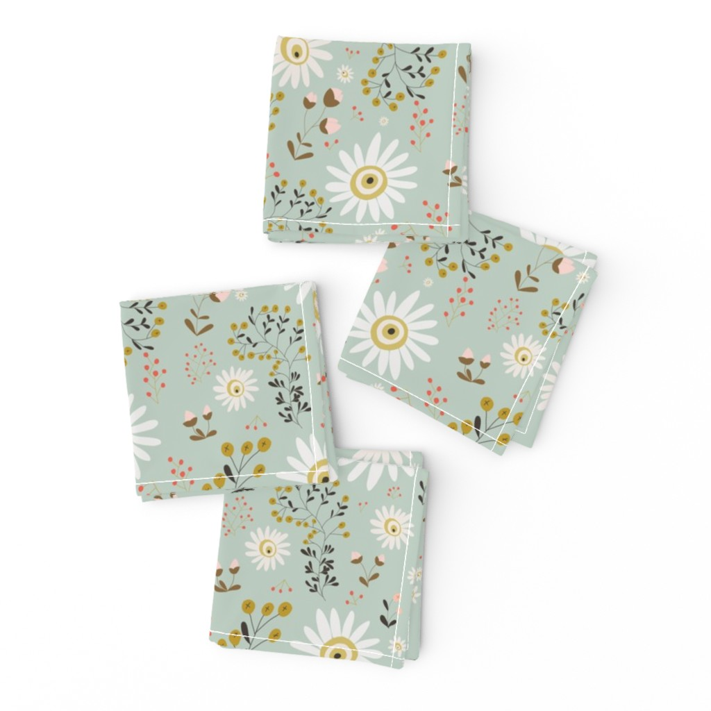 Frizzle Cocktail Napkins featuring 01-gold-daisy by manuela_langella