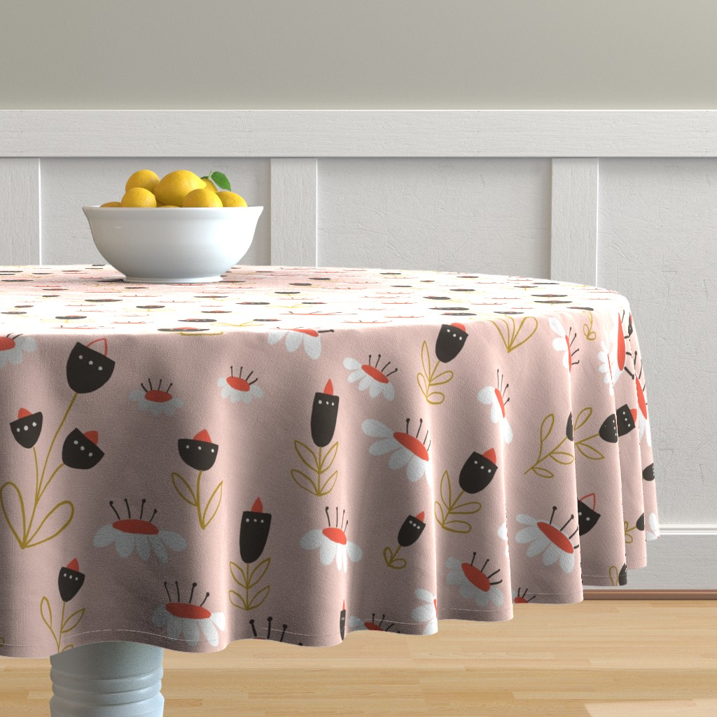 Malay Round Tablecloth featuring 04-orange-chocolate by manuela_langella