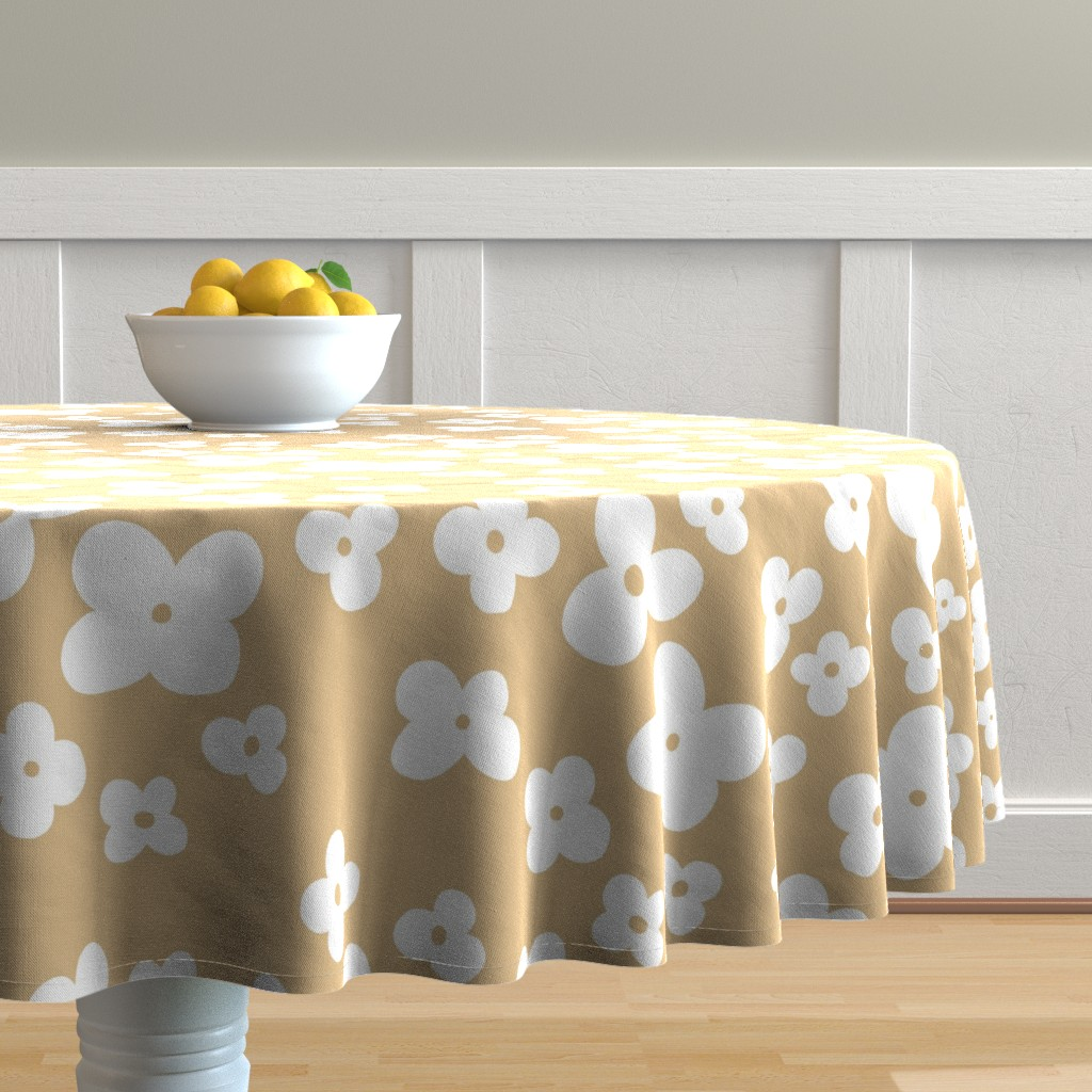 Malay Round Tablecloth featuring 06-browny-meadow by manuela_langella