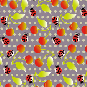 cherries and ladybugs