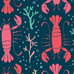 Lobster reef (coral on navy)