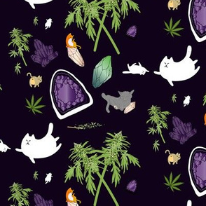 Cats, Crystals, & Cannabis on Black