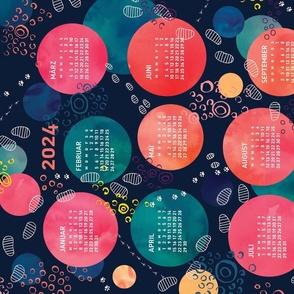 German 2021 Calendar, Monday / Footprints on the Moon