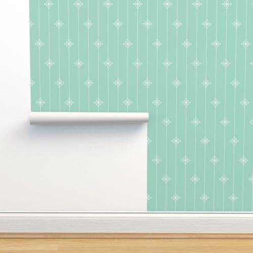 Wallpaper Pastel Green Geometric Floral Pattern
