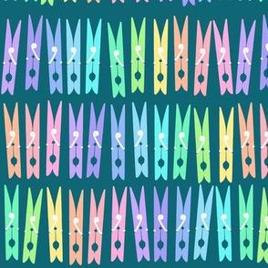 Clothespins - Pastel Rainbow on Teal