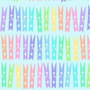 Clothespins - Pastel Rainbow on Blue