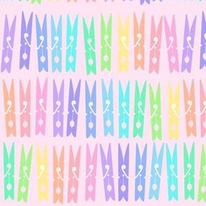 Clothespins - Pastel Rainbow on Pink