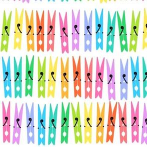 Clothespins - Rainbow on White