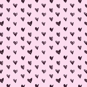 Doodle hearts on pink • tiny scale