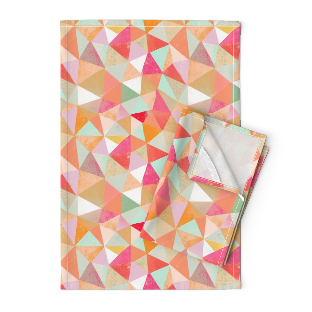 Orpington Tea Towels featuring desert coloured triangles by miraparadies
