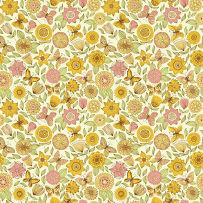 Yellow Fantasy Butterflies  And Flowers Seamless