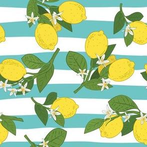 Aqua Stripes And Lemons
