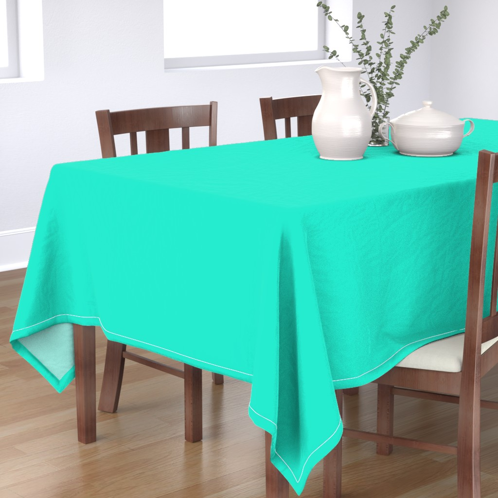 Bantam Rectangular Tablecloth featuring Aqua Gift Box Solid Summer Party Color by paper_and_frill