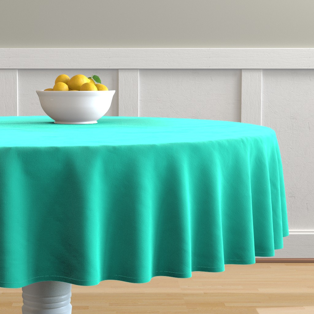 Malay Round Tablecloth featuring Aqua Gift Box Solid Summer Party Color by paper_and_frill