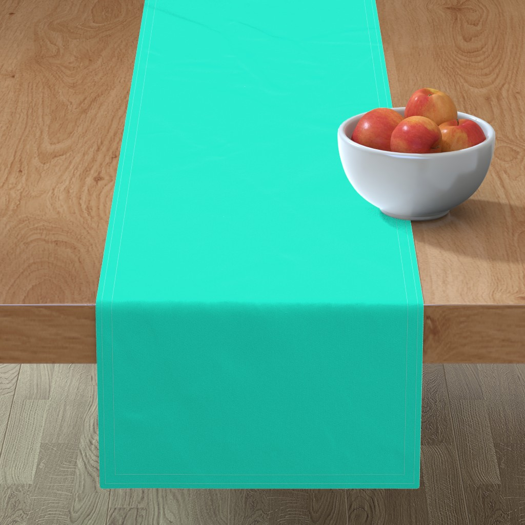 Minorca Table Runner featuring Aqua Gift Box Solid Summer Party Color by paper_and_frill