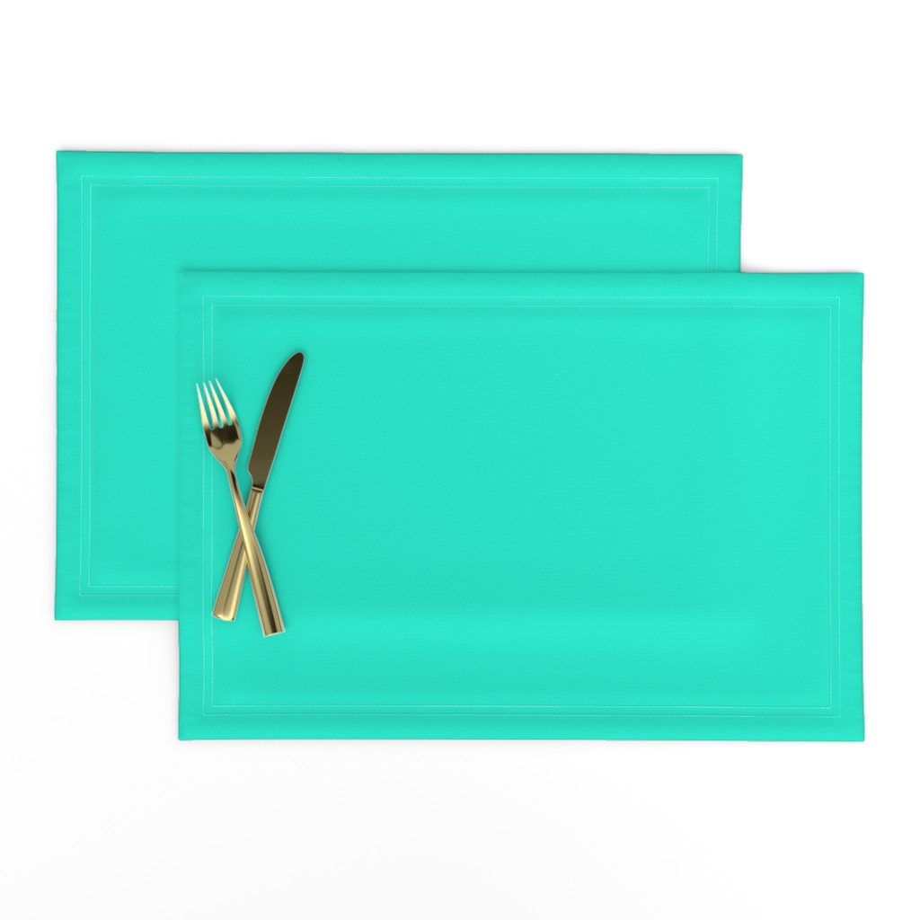 Lamona Cloth Placemats featuring Aqua Gift Box Solid Summer Party Color by paper_and_frill