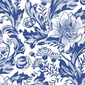 William Morris ~ Acanthus, Tulips, and Marigolds ~ Willow Ware Blue and White