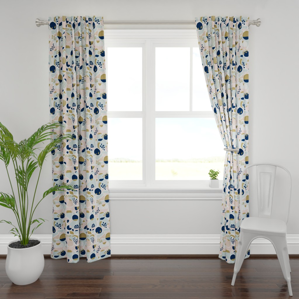Plymouth Curtain Panel featuring Sun Burst Abstract by rosalindmaroneyillustration