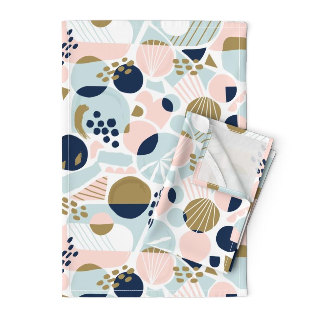 Orpington Tea Towels featuring Sun Burst Abstract by rosalindmaroneyillustration