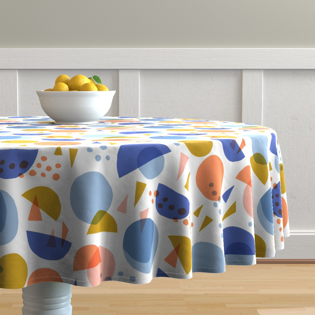Malay Round Tablecloth featuring Scandinavian abstract circles and triangles  by heleen_vd_thillart