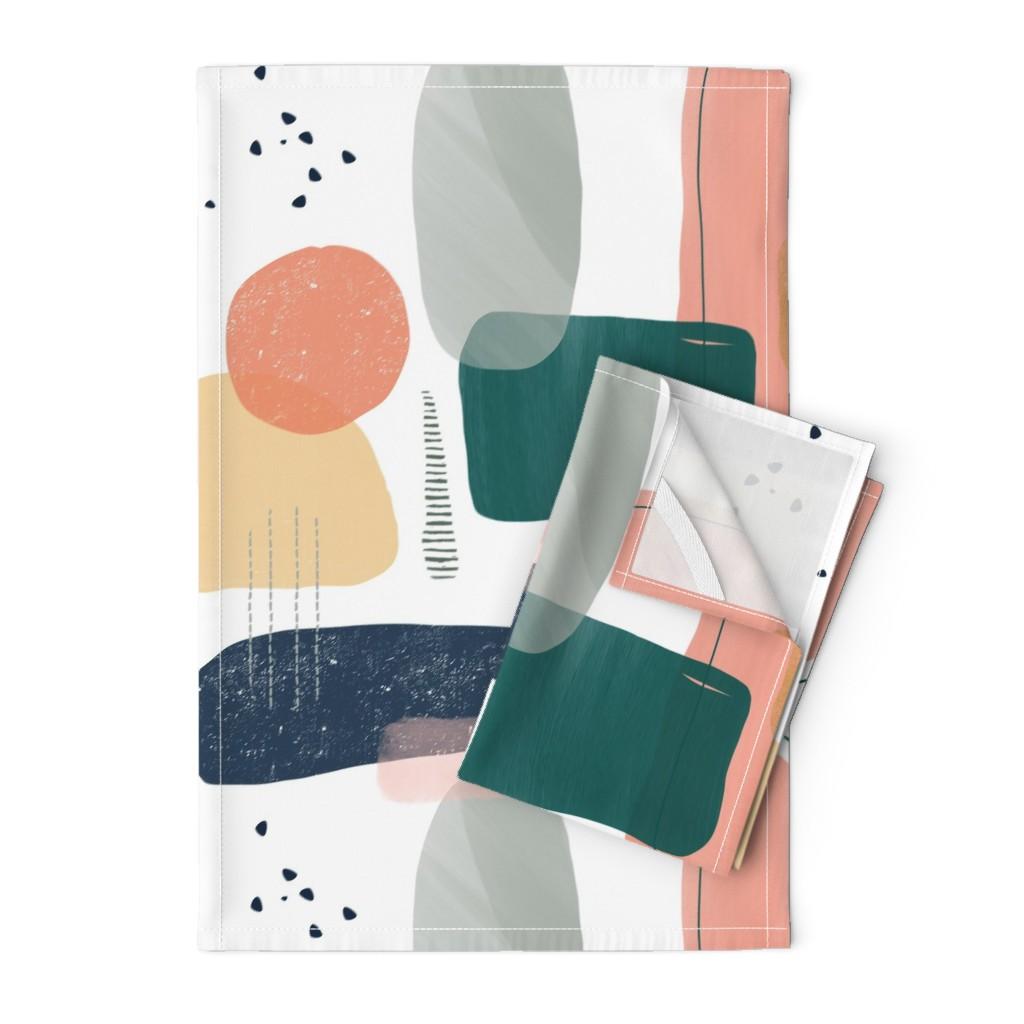Orpington Tea Towels featuring Abstract minima by taranealart