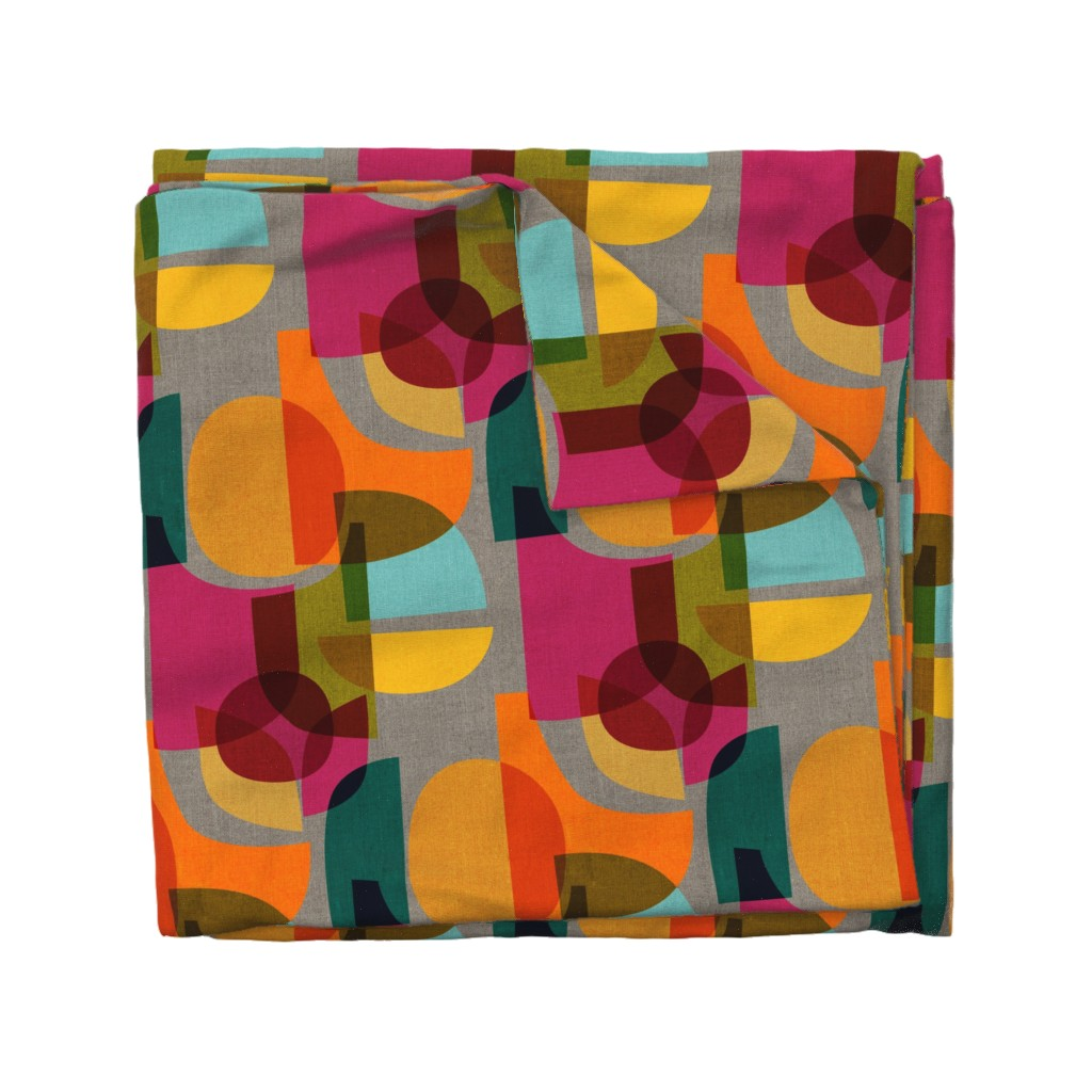 Wyandotte Duvet Cover featuring Mid Century Kaleidoscope by ceciliamok