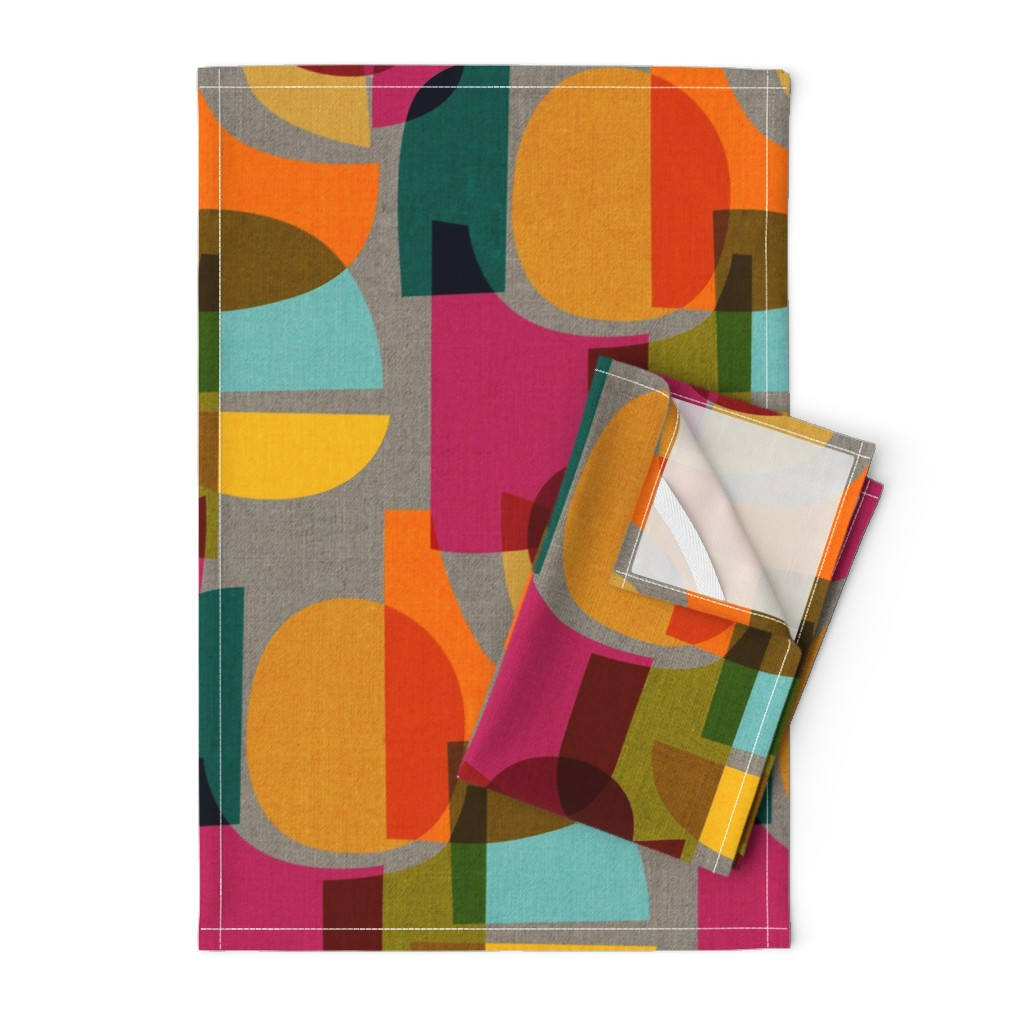 Orpington Tea Towels featuring Mid Century Kaleidoscope by ceciliamok