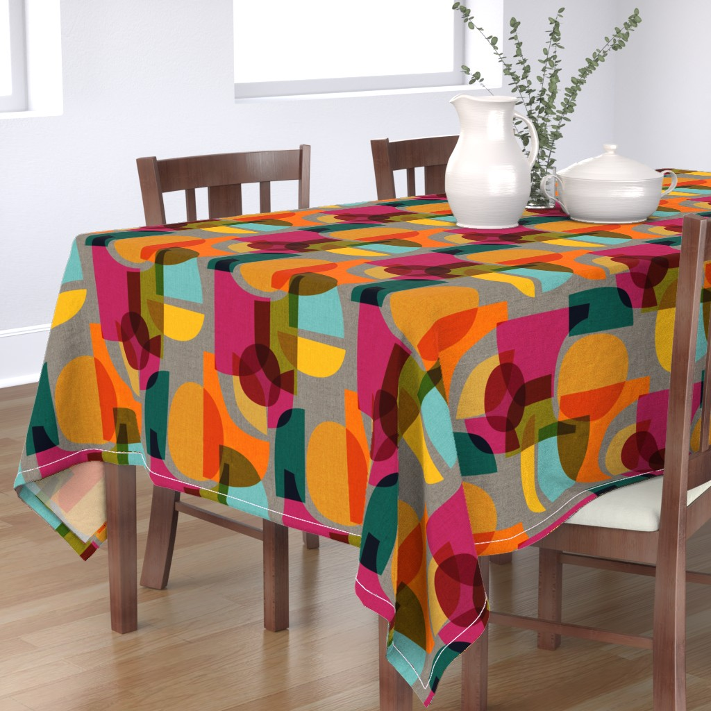 Bantam Rectangular Tablecloth featuring Mid Century Kaleidoscope by ceciliamok