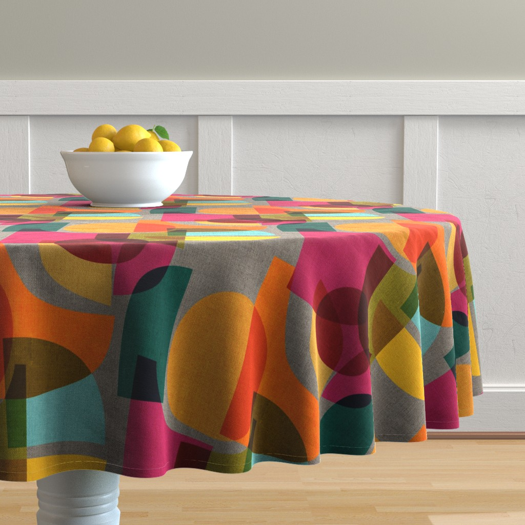 Malay Round Tablecloth featuring Mid Century Kaleidoscope by ceciliamok