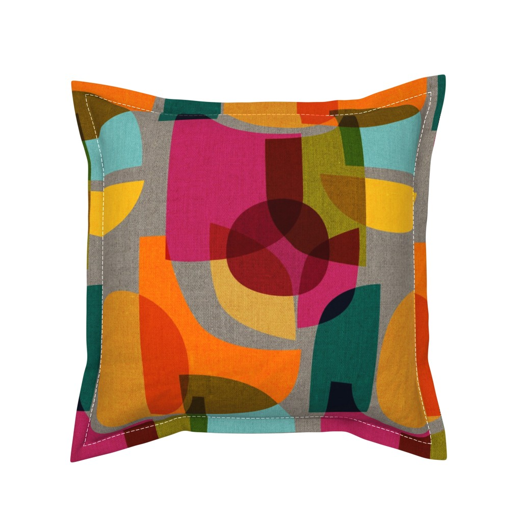 Serama Throw Pillow featuring Mid Century Kaleidoscope by ceciliamok
