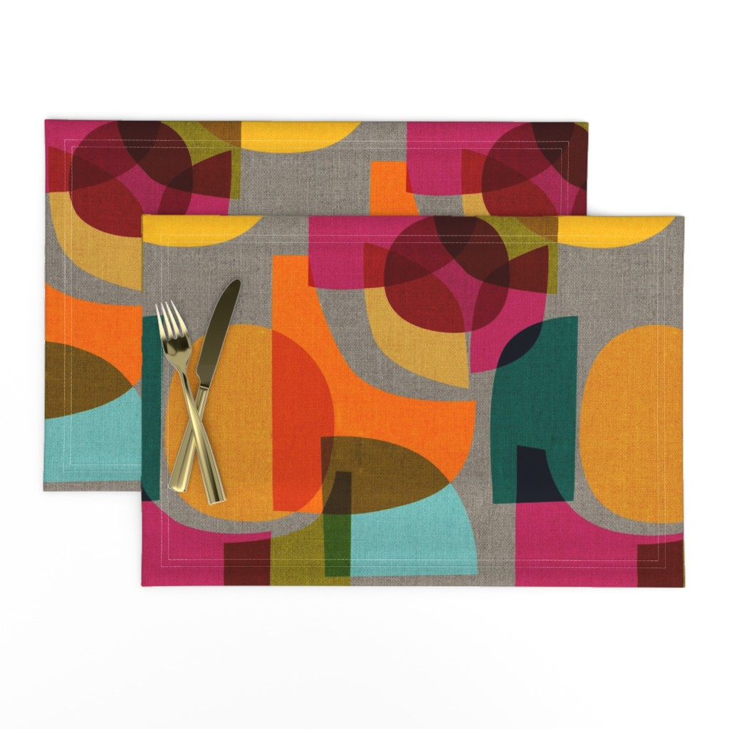 Lamona Cloth Placemats featuring Mid Century Kaleidoscope by ceciliamok