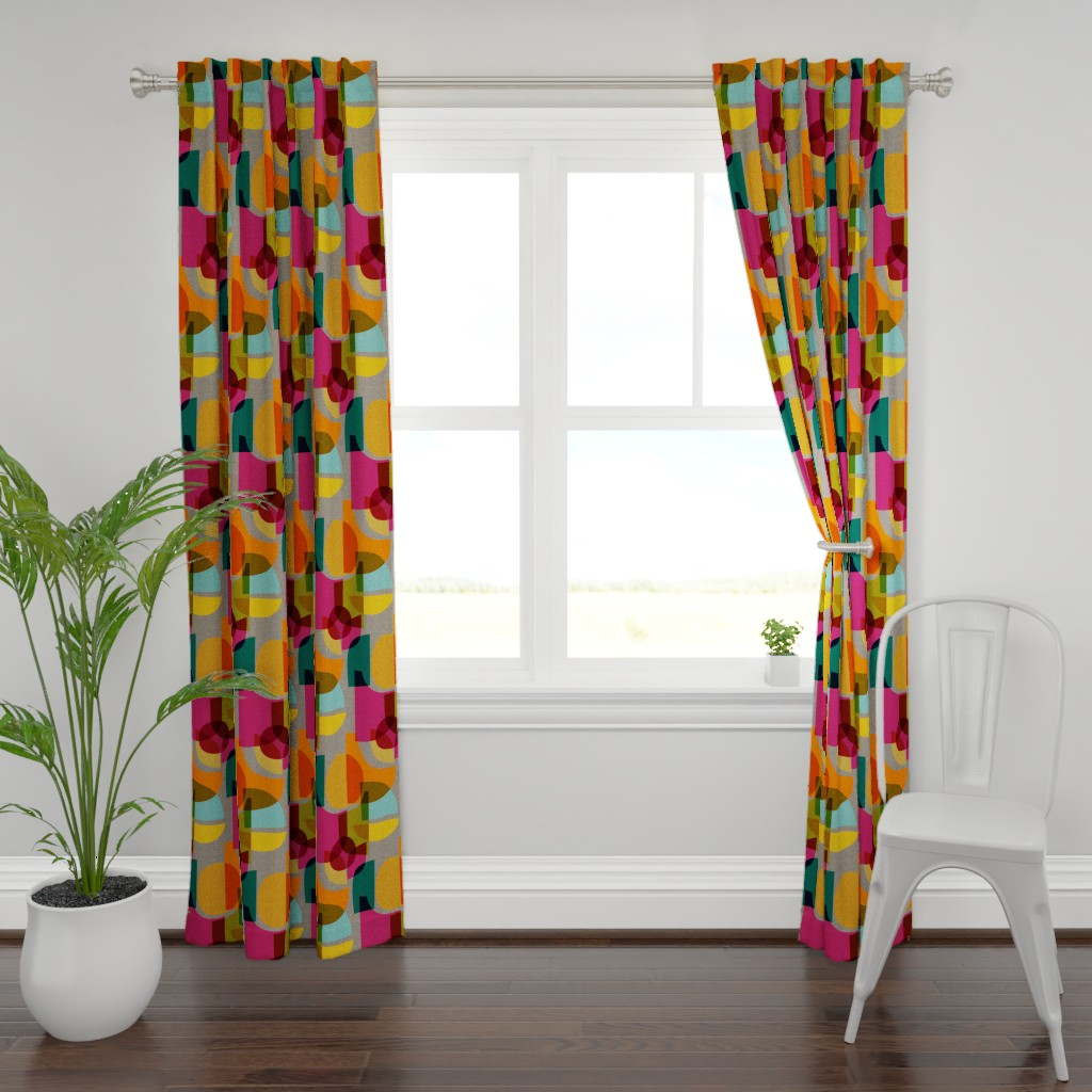Plymouth Curtain Panel featuring Mid Century Kaleidoscope by ceciliamok