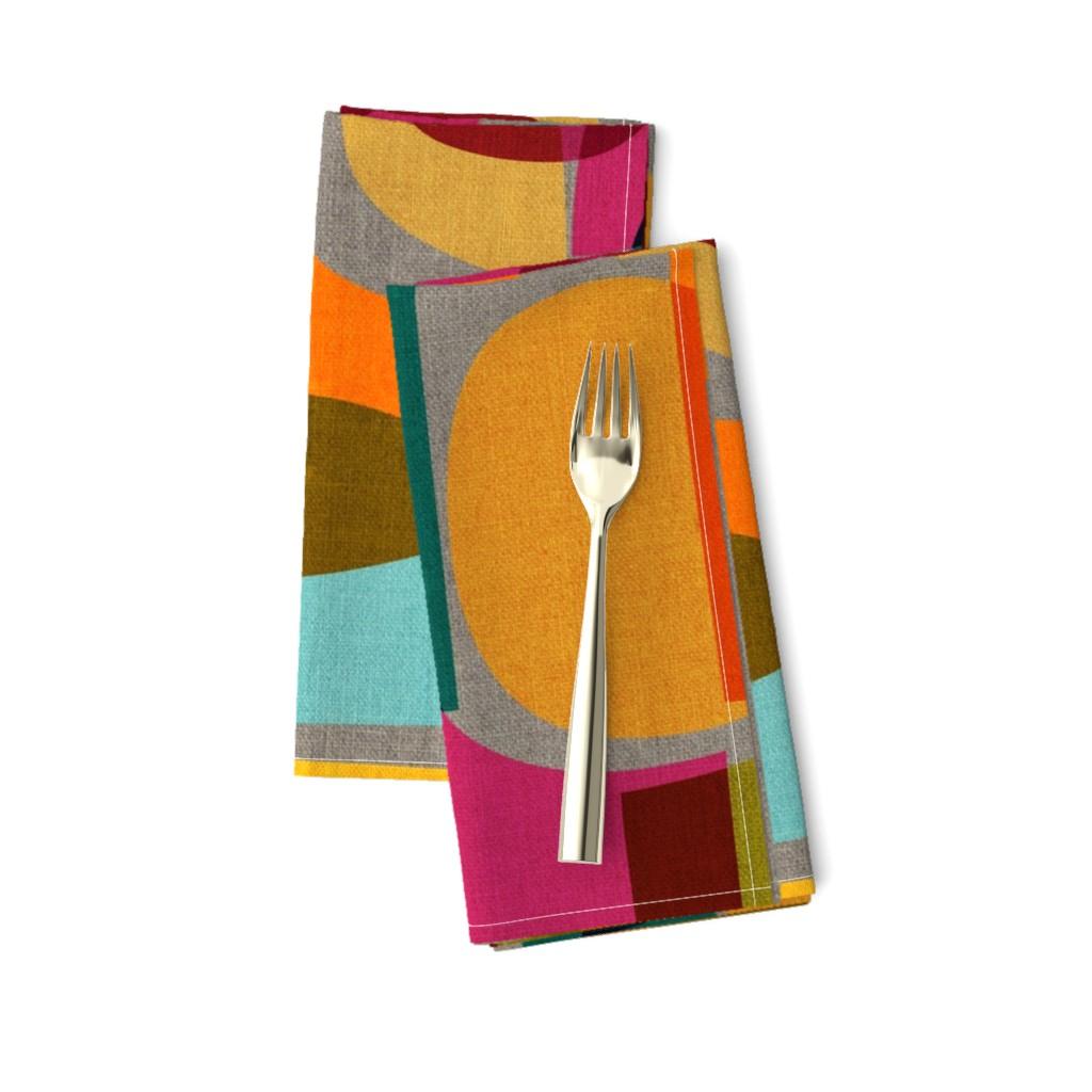 Amarela Dinner Napkins featuring Mid Century Kaleidoscope by ceciliamok