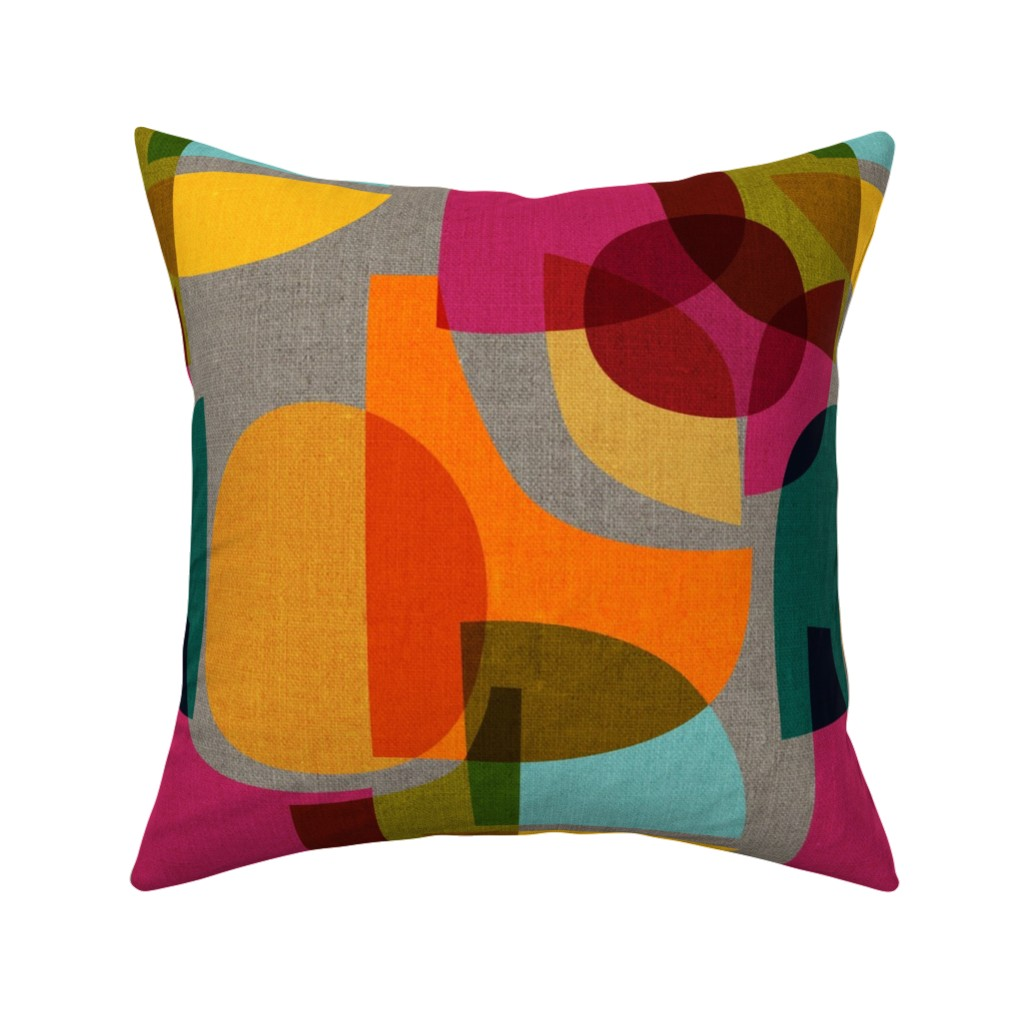 Catalan Throw Pillow featuring Mid Century Kaleidoscope by ceciliamok