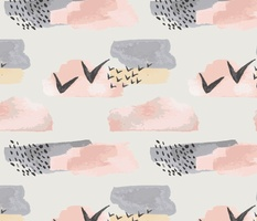 Minimal grey pink mustard pastel watercolor abstract shapes