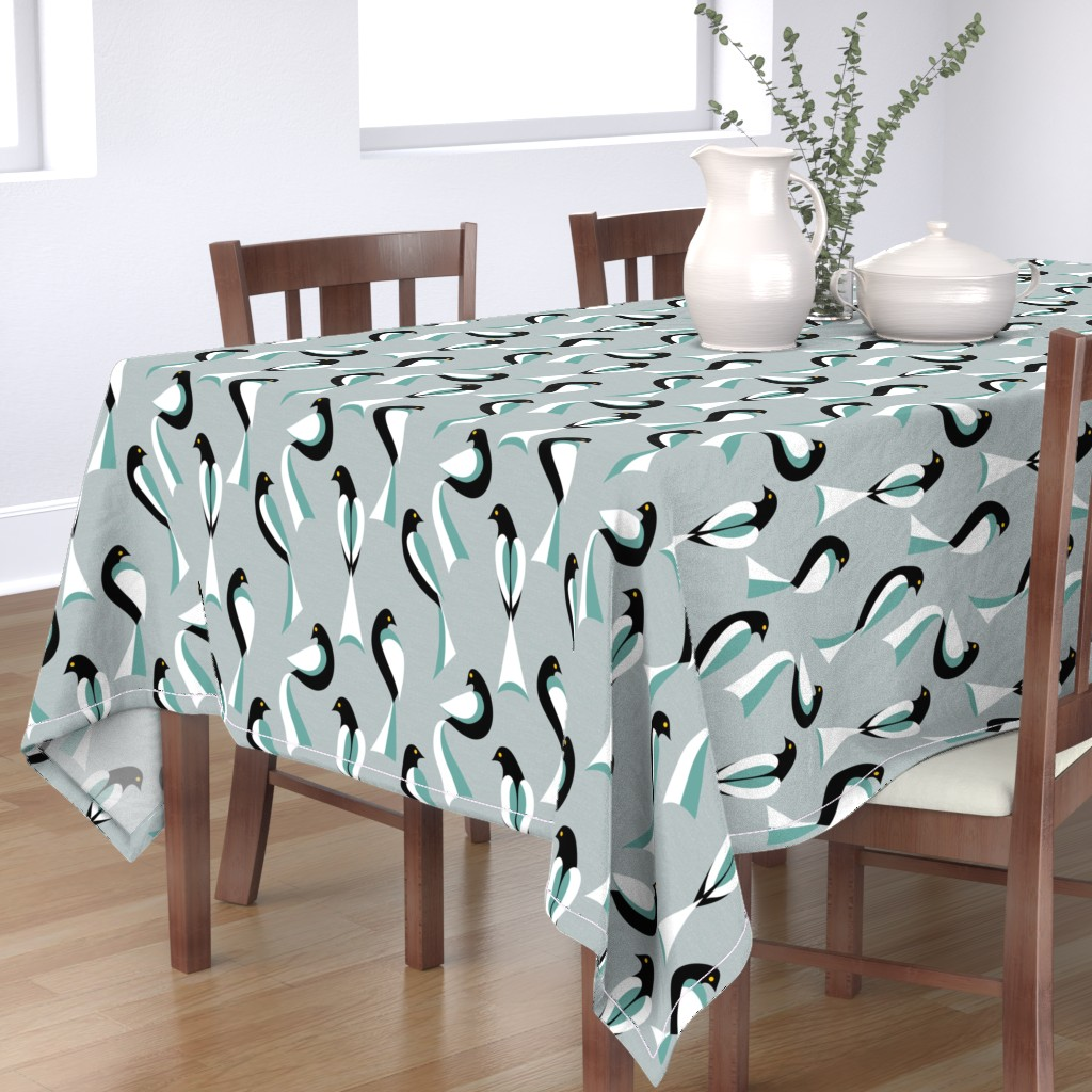 Bantam Rectangular Tablecloth featuring Minimalist Birds in Sage by vo_aka_virginiao
