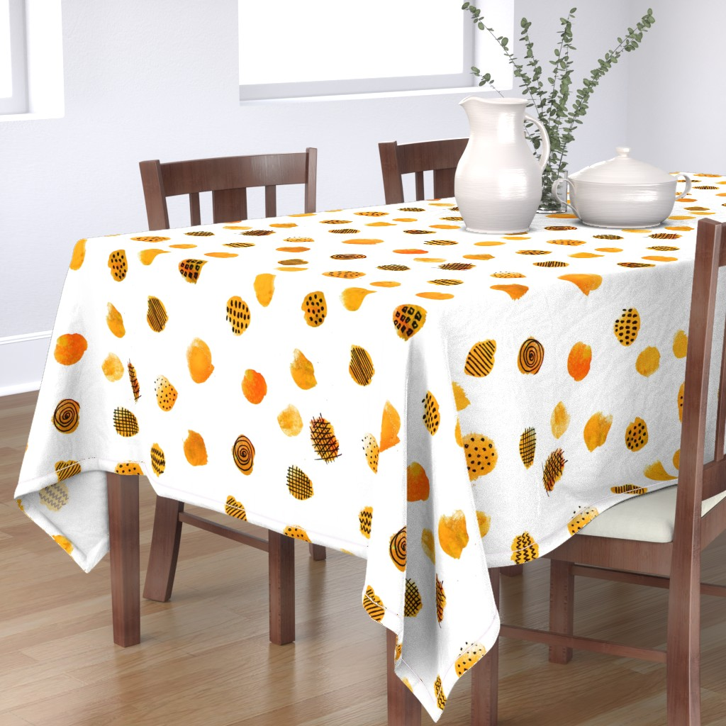 Bantam Rectangular Tablecloth featuring MINIMAL ABSTRACT DOTS YELLOW by bruxamagica