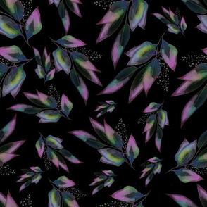 Multi Color Leaves on Black